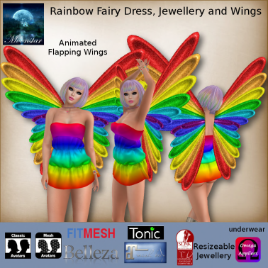 MESH Rainbow Fairy Dress, Jewellery and Wings by Moonstar